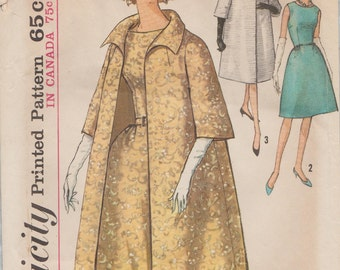 Simplicity 5194 / Vintage 60s Sewing Pattern / Dress And Coat / Size 12 Bust 32 / Unused