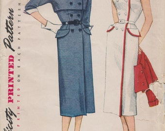 Simplicity 3804 / Vintage 50s Sewing Pattern / Wraparound Dress And Bolero Jacket / Size 20 Bust 38