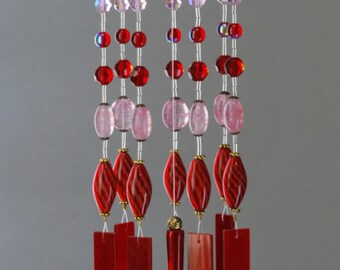 Repurposed Upcycled Red Glass wind chime