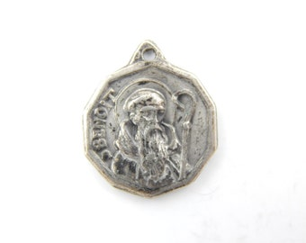 Rare Vintage Saint Benedict of Nursia Exorcism Medal - Religious St Charm - Catholic Medal Art Medallion - Catholic Jewelry - V83