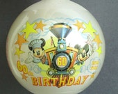 Vintage 1988 Walt Disney 60 Birthday Mickey and Minnie Mouse Christmas Ornament, Glass Ball Decoration