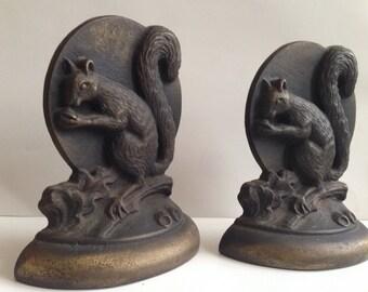 Pair Art Deco Bookends Squirrel Bookends ,Antique Vintage Squirrel Bookends