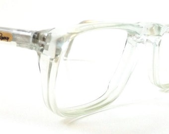 vintage 1980s nos eyeglasses half square clear plastic frames crystal translucent prescription men womens eyewear retro eye glasses usa new