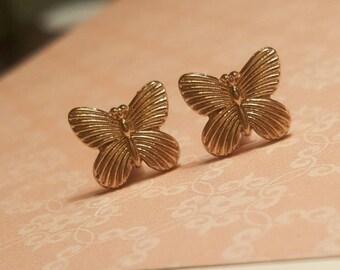 SALE was 24.00 Gold Tone Garden Butterfly Stud Plugs Gauges 10g, 8g  t630