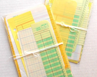 Vintage Ledger Ephemera Pack / Vintage Ledger Sheets / 20 Pieces / Paper Ephemera / Junk Journal / Daily Planner