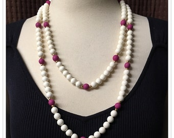 Trifari Fuscia Beaded Necklaces, Off White Beads, Crown T, Two Seperate Strands, Signed, Vintage 1950's 1980's