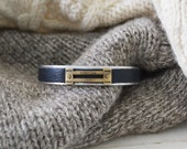 Men's Preppy Equestrian Leather Metal Cuff Bracelet - Navy