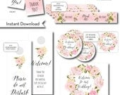 """INSTANT download. 6 Wedding Welcome Bag Labels and or Tags. Water Bottle Label, Thank You Tags, Door Hanger, Gable Box Label, 2.5"""" sticker"""