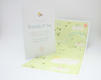Yosemite National Park, California Tri-Fold Infographic Invitation with Map + RSVP Design