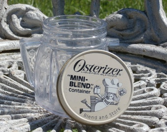 Vintage Osterizer Mini Blend Container and Metal Lid, White