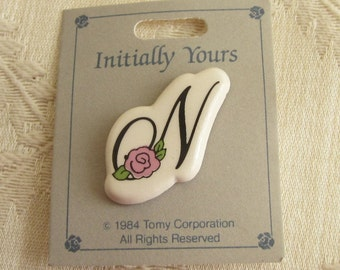 Ceramic Letter N Initial Pin Brooch Vintage 1980s with Pink Flower