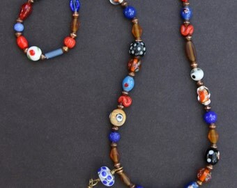 Red Fish Necklace Vintage Glass Fish with Colorful Vintage Glass Eye Beads Orange and Blue Art Glass w Dangle Colorful Bohemian Jewelry