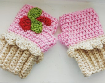 Cherry Cupcake Fingerless Gloves - Toddler Size