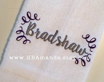 Calligraphy Name + Doodle SET OF 2 Monogram Hand Towels - Choose thread colors + towel colors