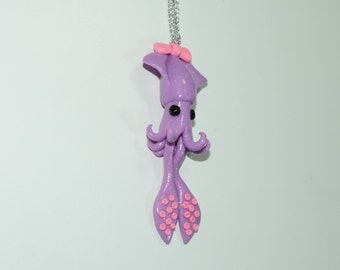 purple squid necklace with pink bow, pastel, semi translucent, opalescent, sparkle, glitter, kawaii,