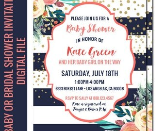 Baby Girl Shower Invitation, Navy and Gold Baby Shower, Floral Baby Shower, Watercolor Invitation, Coral and Gold, Printable