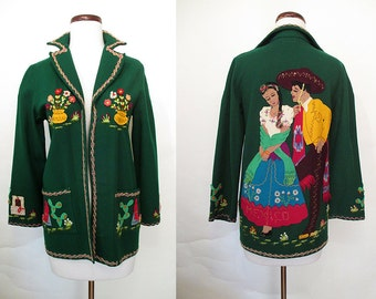 "Killer 1940's Hand Applique Deep Green Felt Mexican Tourist Jacket by ""Berty of Mexico"" Rockabilly VLV Pinup Girl Mexi Jacket Size-Small"