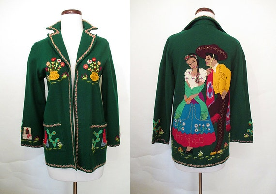 """Killer 1940's Hand Applique Deep Green Felt Mexican Tourist Jacket by """"Berty of Mexico"""" Rockabilly VLV Pinup Girl Mexi Jacket Size-Small"""