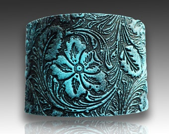 Yesterday is gone in blues polymer clay cuff bracelet