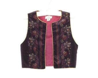 Bolero Vest * Vintage 70s Cropped Vest * Velvet Gilt Waistcoat * Small