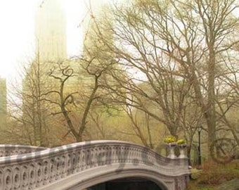 Spring in Central Park, Large Wall Art, Bow Bridge, Green, Beige, New York Print, Central Park Photography