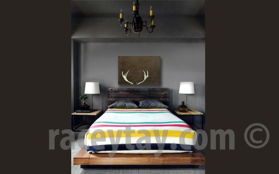 Deer Antler Art - Large Wall Art Canvas - Rustic Cabin Decor - Brown Fall Decor- Men