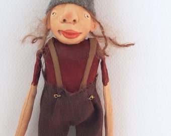 """Cloth and clay folk art miniature elf doll 7"""" tall trousers wool hat ornament holiday christmas #3"""