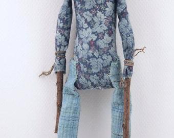 Folk Art Pumpkin head doll cloth clay hand stitched plaid trousers ooak sculpted