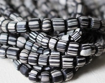Indonesian Rustic Tribal Beads - Striped Seed Beads - Jewelry Making Supply (~5mm) 12 or 24 inches - Black And White