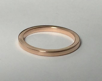 Square Rose Gold Wedding Band Ring Pink Yellow