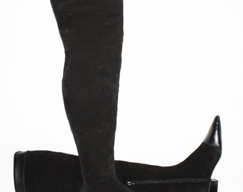GIANNI VERSACE Vintage Over Knee Suede Leather Boots Black OTK 39 - Authentic -