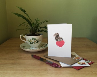 Squirrel love note card. Funny card for anniversary or just an affectionate greeting. Blank inside for your message.