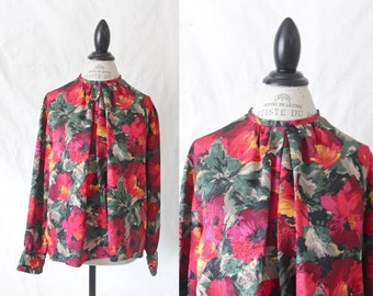 Vintage Floral Pleated Blouse M/L