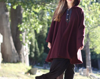 Burgundy Cape - Wool Cape -  Three Button Cape