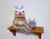 Ready to Ship, Crochet Newborn Baby Girl Sleepy Owl Hat & Amigurumi Set, Photo Prop, Shower Gift, Stuffed Animal, Pink,  Valentine's Day