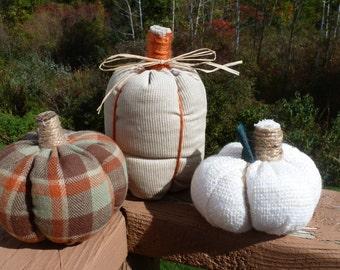 Fall Fabric Pumpkins - Tan, Off-White and Plaid Pumpkins