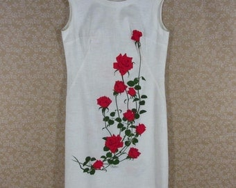 Shaheen Dress Summer Shift Off White Red Rose Print