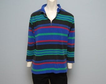 Vintage 1990's Black, Green, Red and Blue Striped Pullover - Petite Small