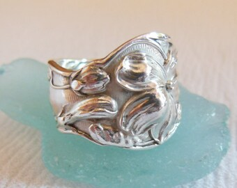 Antique Spoon Ring  Sterling Silver  Violet    Size 8