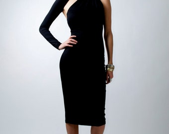 Black Dress / One-Shoulder Pencil Dress / Midi Dress / Party Dress / marcellamoda Signature Design - MD003