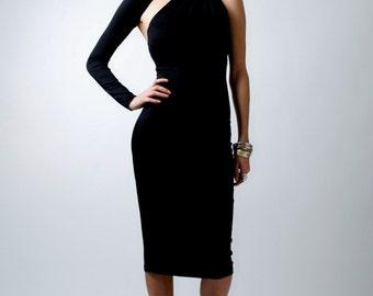 Black Dress / One-Shoulder Dress / Pencil Dress / Midi Dress / Party Dress / Signature Design / Marcellamoda - MD0003