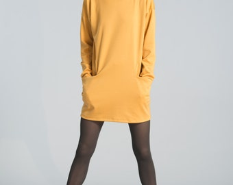 Oversize Long Tunic / Tunic Dress / Black Dress Tunic / Long Sleeve Sweater / Casual Tunic / Marcellamoda - MB0142