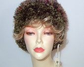 Handmade new fluffy knit bombshell hat ~ moss green burgundy purple bohemian ~ one size ~ furry shaggy Dr Zhivago cloche wool Australia