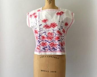 1960s Vintage Blouse - 60s Vera Jollytop Pink Floral Cotton Blouse