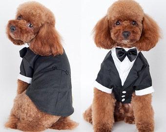 Free Shipping Cute Pet Dog Puppy Custom Clothing Wedding Suit Tuxedo Bow Tie