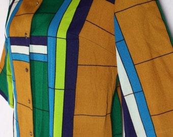 "Vintage Alex Coleman Mondrian Print Nehru Collar Tunic Long Top L 42"" Bust"