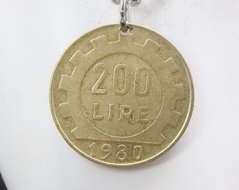 Italian Coin Necklace, 200 Lire, Ball Chain, Men's Necklace, Women's Necklace, 1980