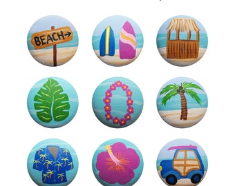 Hand Painted Knob - Children's Custom Hand Painted Tropical Ocean Hawaiian Surfer Beach Drawer Knobs Pulls or Nail Covers for Kids