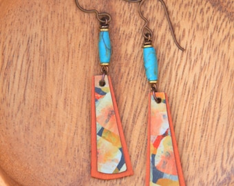 Abstract Turquoise Hand Painted Birch Wood Earrings.