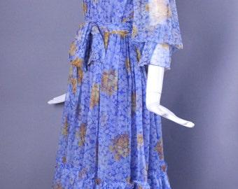 1970s OSCAR De La RENTA floral silk chiffon maxi peasant party dress gown blue vintage 6